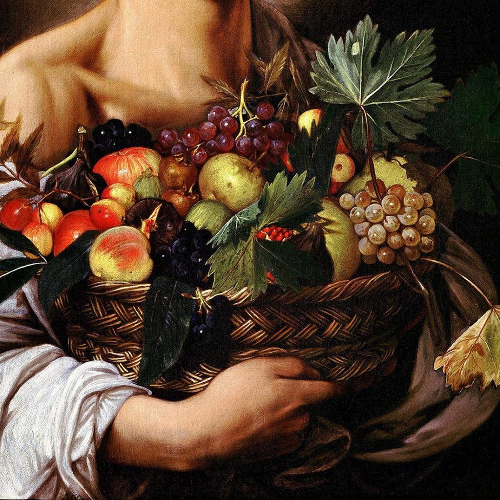 """Le Caravage, """"Jeune garçon portant une corbeille de fruits"""", (détail), 1593-1594, Galleria Borghese, Rome (source : Web Gallery of Arts)."""