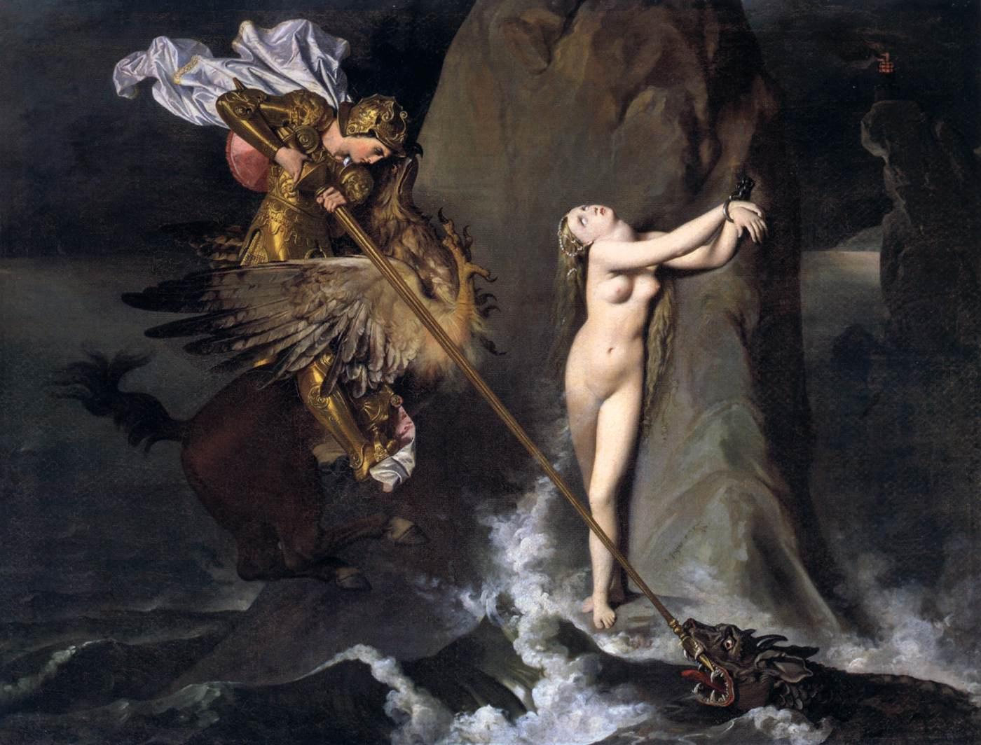 """Jean-Auguste-Dominique INGRES, """"Roger délivrant Angélique"""", (1819), Paris, Musée du Louvre (source : WGA)."""