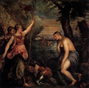 TIZIANO Vecellio, La Religion secourue par l'Espagne, 1572-1575, Museo del Prado, Madrid (source : WGA)
