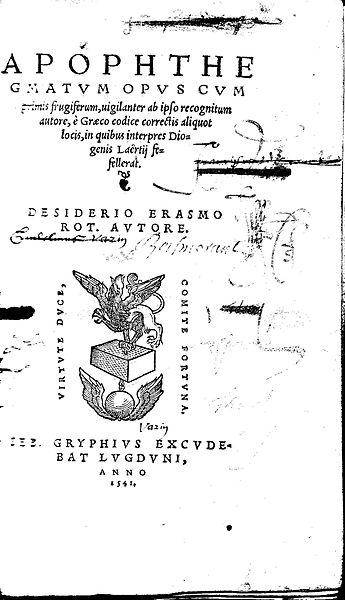 Marque de Gryphe en 1541 (source : wikipedia : http://fr.wikipedia.org/wiki/Fichier:Erasme_001.jpg)