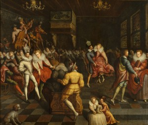 Bal à la cour des Valois, peinture, école française, vers 1580. Musée des Beaux-Arts de Rennes (source : culture.fr)