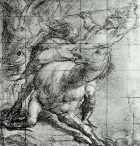 """Vecellio TIZIANO, """"Cavalier et cheval"""", 1537, Ashmolean Museum, Oxford (source : WGA)"""