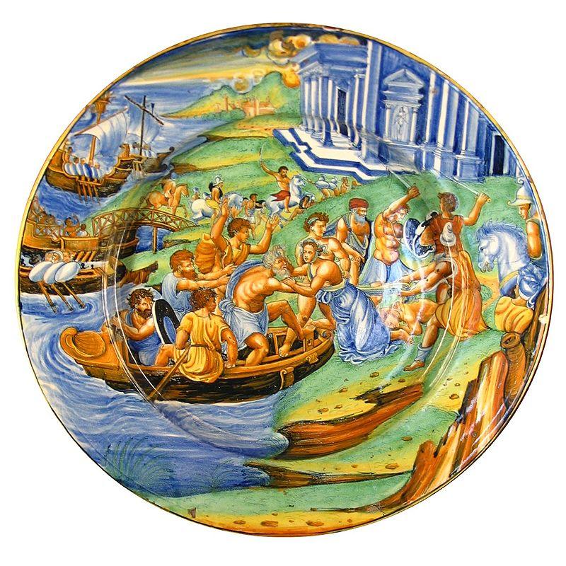 """A défaut d'une majolique d'Avelli, voici le Plat en faïence décorée de Montelupo, Italie ca 1540-1545, Musée d'Ecouen, France. Source : wikipédia article """"majolique"""". (source : photo Patrick.charpiat sur wikipedia)"""