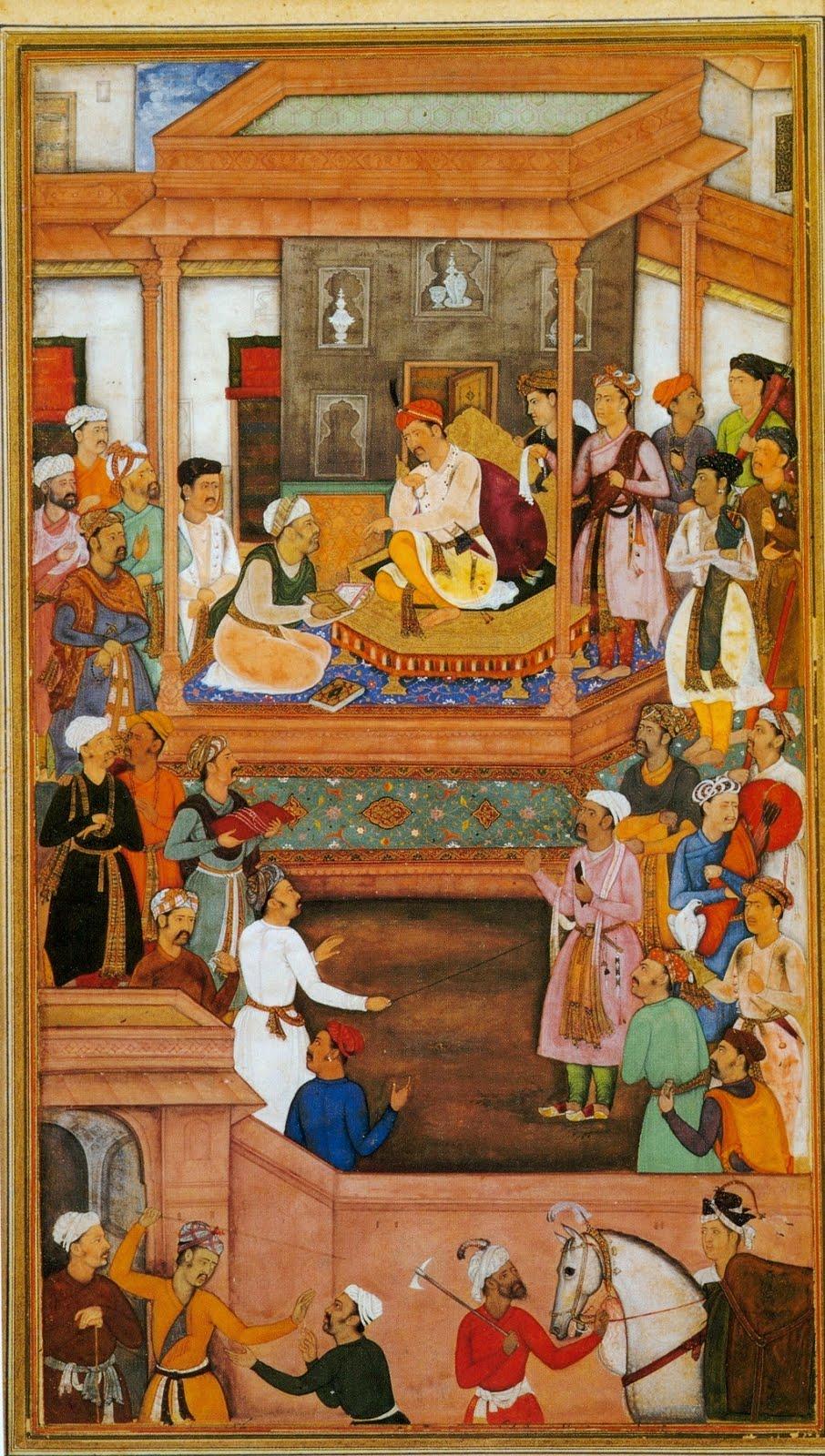 """Nar Singh, """"Jésuites à la cour d'Akhbar"""", miniature de l'Akbarnama, ca. 1605 (source: wikimedia commons)"""