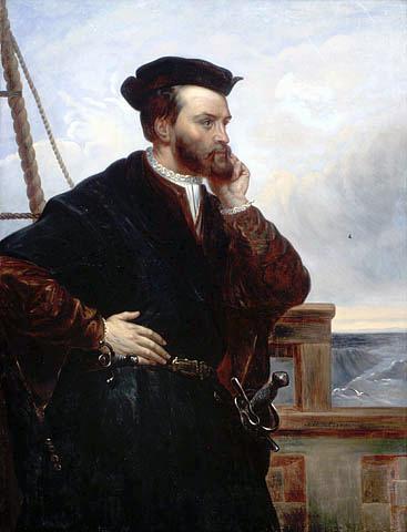 Jacques Cartier. Portrait par Théophile Hamel (1817-1870). Il n'y a pas de portrait datant de son vivant (source : wikipedia)