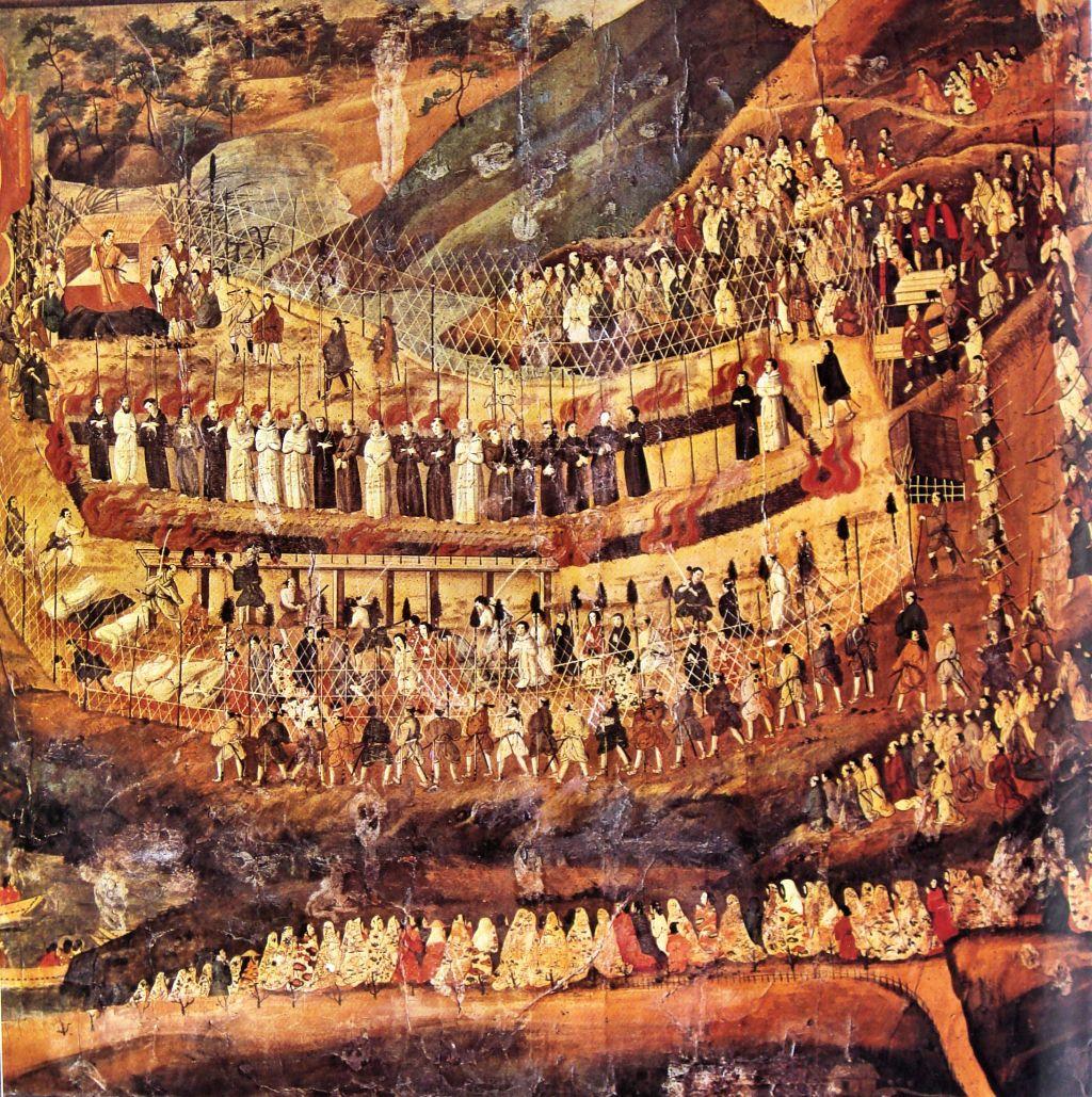 """Artiste japonais inconnu, Les martyrs jésuites de Nagasaki, xvie-xviie s., reproduction issue d'un livre d'Arnold Toynbee, """"A study of history"""" (source : wikipedia)"""