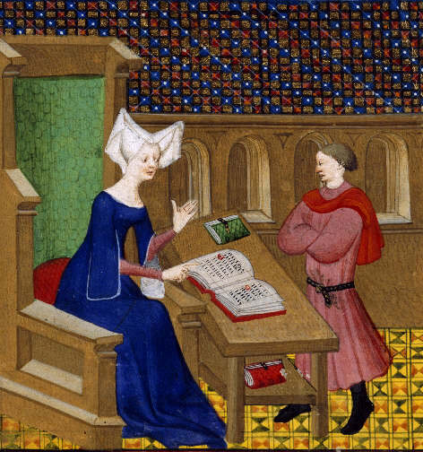 Christine de Pizan et son fils, Collected Works of Christine de Pisan, vers 1413, BL, Harley 4431 (source : Wikimedia commons)