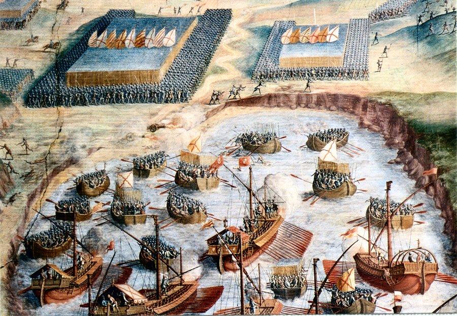 Débarquement des troupes espagnoles à Terceira, 1583, fresque de San Lorenzo de l'Escorial. (Source: Wikipedia)