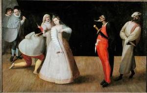 Hieronymus Francken, La troupe des Gelosi en train de jouer, fin XVIe siècle, Musée Carnavalet (source : wikipedia)