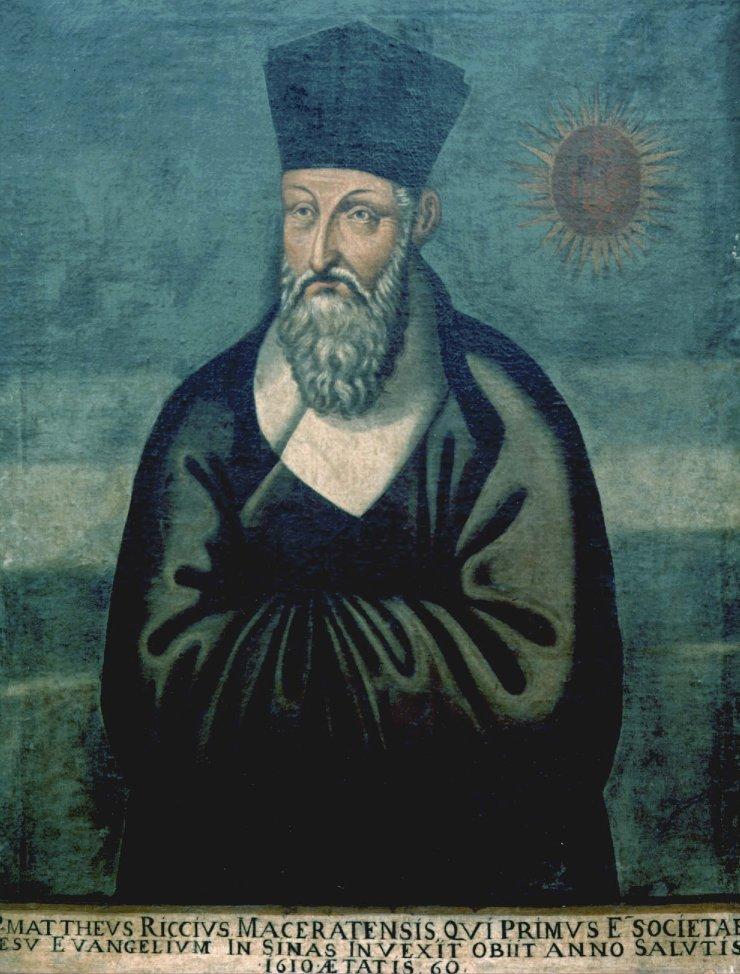 """""""Portrait de Matteo Ricci par le frère chinois Emmanuel Pereira"""", conservé à l'église du Gesu à Rome (source : wikipédia)"""
