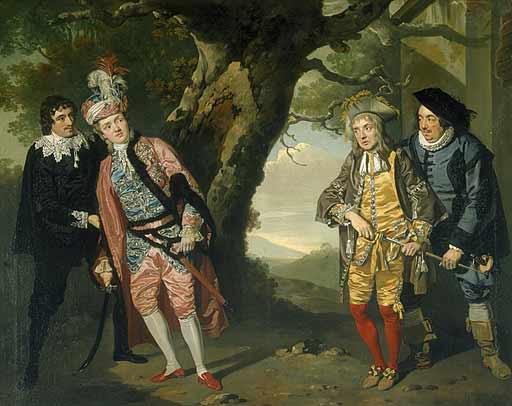 """Francis Wheatley, Scene de """"Twelfth Night,"""" Acte III sc. 4, 1771. Viola est à gauche, en costume chamarré (source : wikipédia)"""