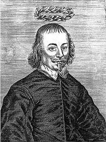 An engraved portrait of Richard Brome that preceded the title page of Five New Playes (1653) (source : wikipedia)