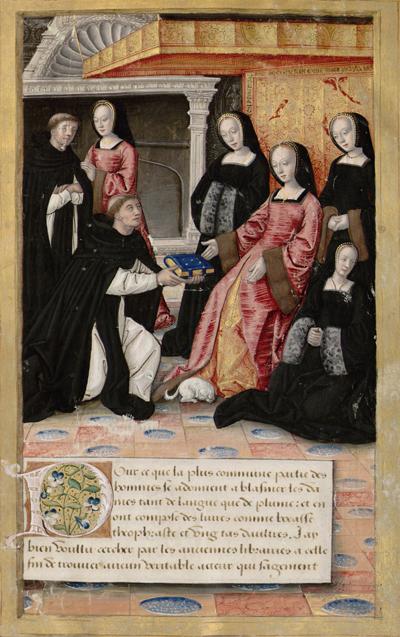 Anne de Bretagne recevant le manuscrit des Vies des femmes célèbres (1504) d'Antoine Dufour (source : Gallica)