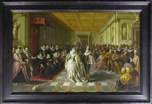 bal des noces d'Anne, duc de Joyeuse, et de Marguerite de Vaudémont (1581-1582, anonyme), Paris, Musée du Louvre (source : cliquer sur l'image)