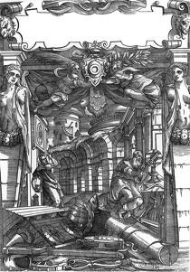 BARBARO, Daniele, Frontispice (verso), 1556 Woodcut Bayerische Staatsbibliothek, Munich