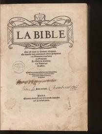 Bible d'Olivétan, page de titre ; image prise sur le site e-rara.ch, auquel Gallica renvoie