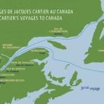 Carte du troisième voyage de Cartier (source : site des Parcs canadiens : http://www.pc.gc.ca/fra/lhn-nhs/qc/cartierbrebeuf/natcul/natcul2/d1.aspx)