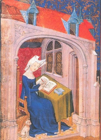 Christine de Pizan écrivant son livre, in Collected Works, BL, MS Harley 4431 (source : Wikimedia commons)