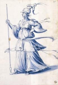 """Giuseppe ARCIMBOLDO, """"costume dessiné d'une femme à la lance"""", 1585, Galleria degli Uffizi, Florence (source : WGA)"""