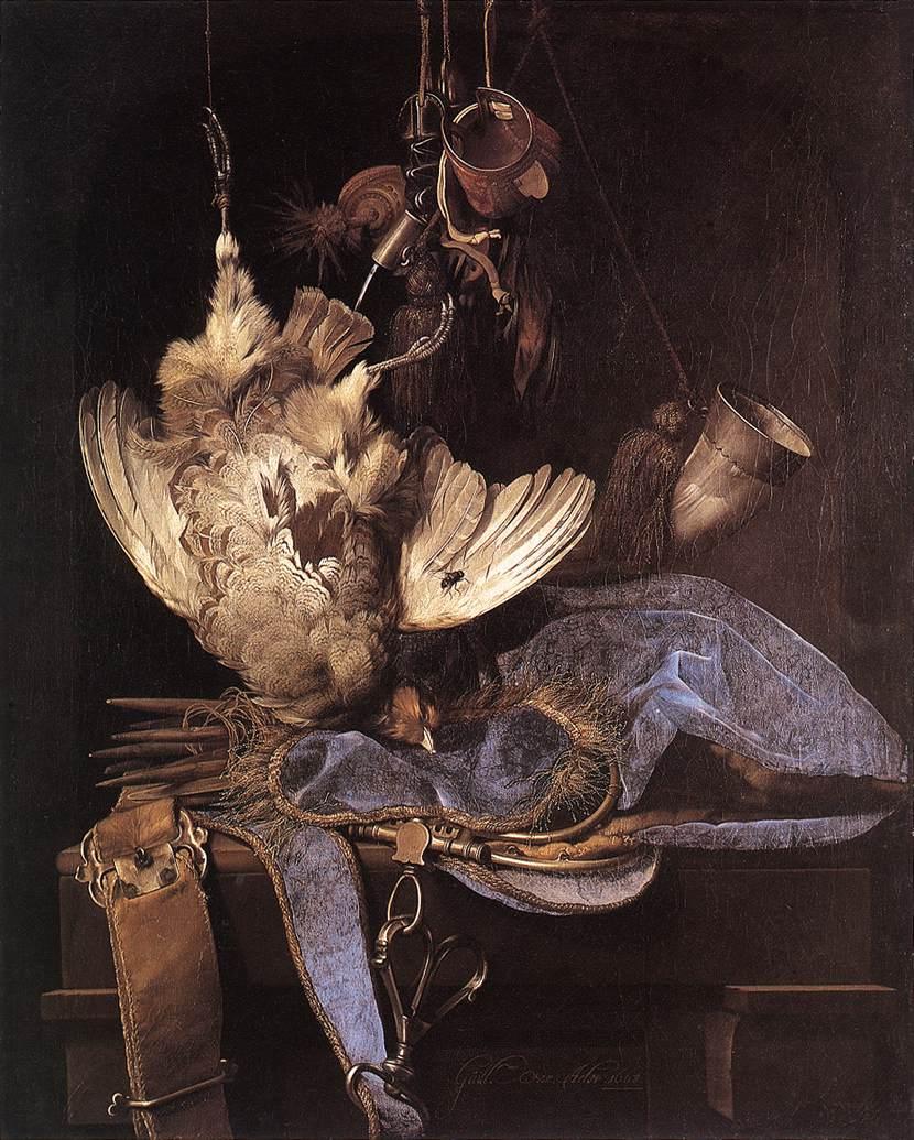 Willem van Aelst, Nature morte avec instruments de chasse et oiseau mort , Staatliche Museen, Kassel, 1660 (source : wga)