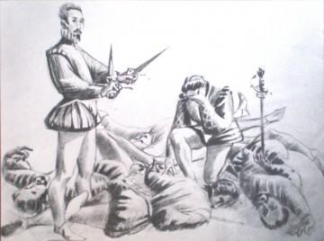 """Alain de Jenlis, """"Un duel sous Henri III"""", 2009, (source : http://talent.paperblog.fr/1570179/un-duel-sous-henri-iii-n6/)."""