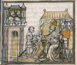 Ganelon et Charlemagne, enluminure qui figure dans Les grandes chroniques de france, fin XIVe s. (source : Mandragore, base de donnée des enluminures, BNF)