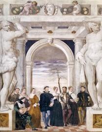"""Giovanni Antonio FASOLO, """"L'invitation à la danse"""" (vers 1570), villa Caldogno (source : WGA)"""
