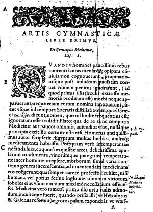 Girolamo Mercuriale, De arte gymnastica, libri sex, première page du texte, Paris, du Puys, 1577 (source : gallica)