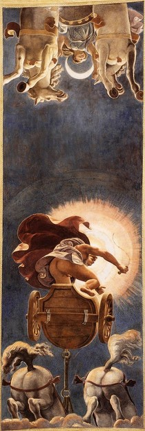 GIULIO ROMANO, Le chariot du Soleil, 1526 Fresco Stanza del Sole, Palazzo del Tè, Mantua