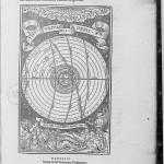 Hermès inspirant Jean de Sacro Bosco dans son étude de l'univers (source : gallica [Illustrations de Textus de Sphoera] ; Johannes de Sacro Bosco, 1534)