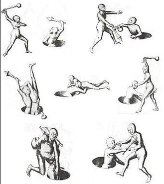 """Illustration d'un duel mixte, Hans Talhoffer, """"Le combat médiéval à travers le duel judiciaire (1443-1467)"""", commentaires de Gustave Hergsell (1893) et Olivier Gaurin (2006), Noisy-sur-École, Éditions de l'Éveil, 2006."""