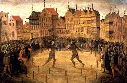Illustration du duel entre Jacotin Plouvier et Mathieu Cocquiel, début du XVIIe siècle, école flamande, conservé au Musée des Beaux-Arts de Valenciennes.