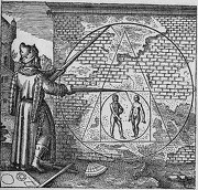 "La pierre philosophale, gravure de Theodor De Bry dans ""Atalanta Fugiens"" de Michael Maier (source : Wikipedia)"