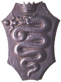 """Le """"Biscione"""", ou guivre, un des emblème de la ville de Milan et de la maison Visconte (source : wikipédia)"""