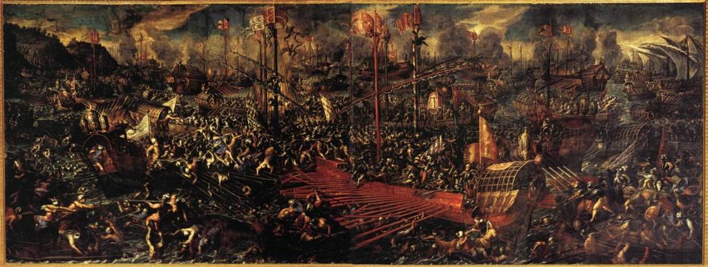 Andrea VICENTINO, La bataille de Lépante, 1603, Palazzo Ducale, Venice (source : WGA)