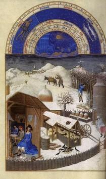 """""""Les très riches heures du duc de Berry : Février"""", (1412-1416), Chantilly, Musée Condée (source : WGA)."""