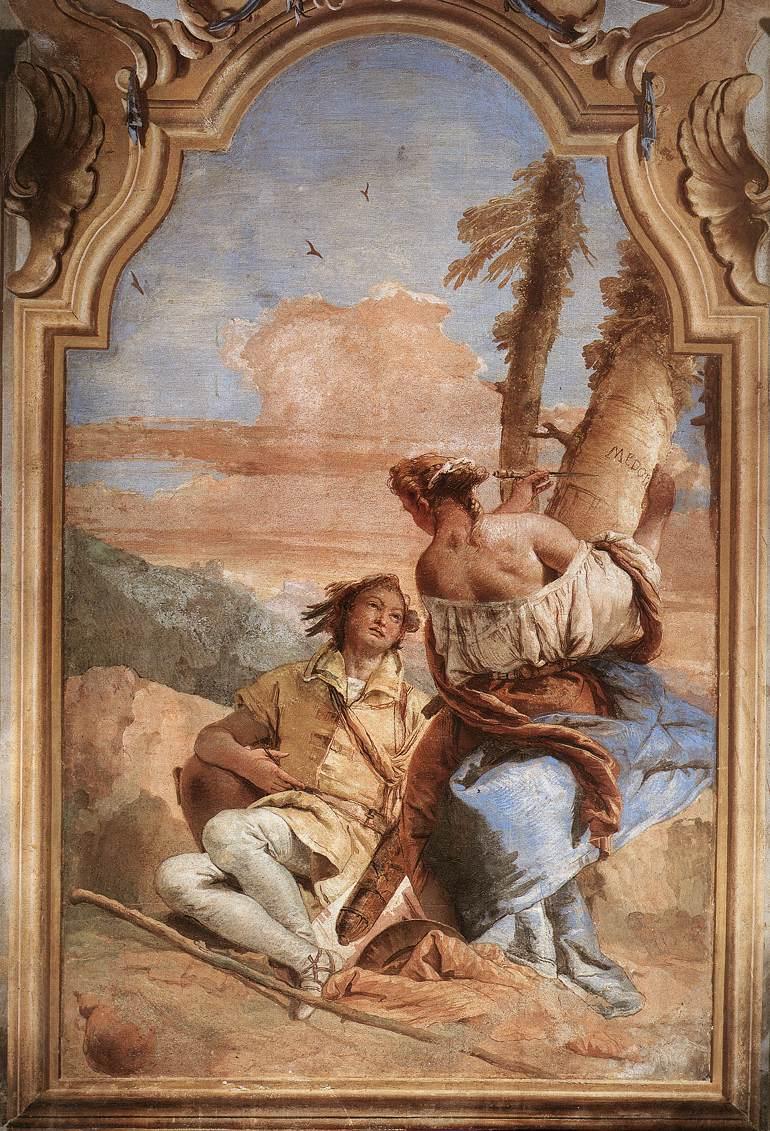 "Giovanni Battista Tiepolo, ""Angélique gravant le nom de Medor sur un arbre"", 1757, Fresque, Villa Valmarana, Vicenza (source :WGA)"
