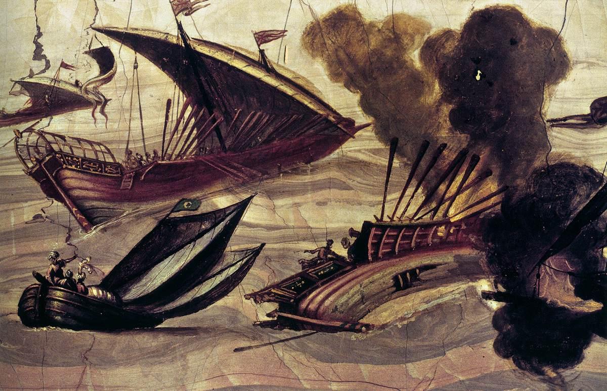 NAPOLETANO, Filippo, Bataille navale, c. 1620 Huile sur pierre de la rivière Arno, 23 x 39 cm Museo dell'Opificio delle Pietre Dure, Florence (source: wga)