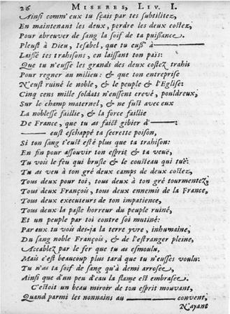 Page (avec « blancs »), tirée de la première édition des Tragiques, I, v.755 et suivants.