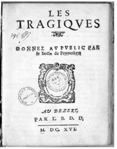 Page de titre de la première édition des Tragiques (1616)