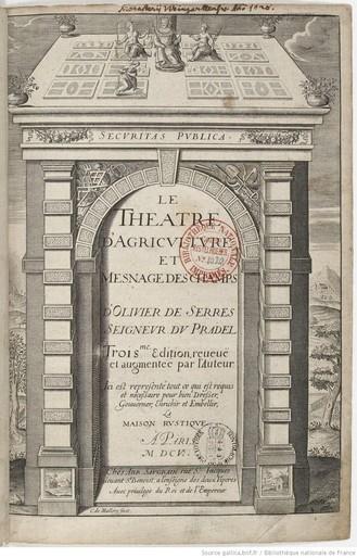 Page de titre du Théâtre d'Agriculture et mesnage des champs d'Olivier de Serres, 3e éd., 1605 (source : Gallica)