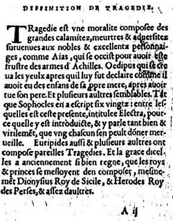 Page du texte où Lazare de Baïf exprime sa conception de la Tragédie, 1537 (source : Gallica)