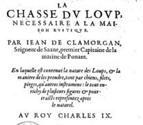 Parie supérieure de la page de titre de La chasse du loup, nécessaire à la maison rustique de Jean de Clamorgan, J. Du Puys, 1574 (source : Gallica)