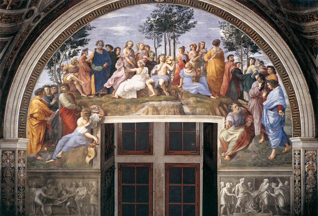 Les auteurs de tous siècles semblent communiquer sans problème dans cette fameuse fresque de Raphaël, Le Parnasse, Chambre de la Signature, Vatican, 1509-1510 (source : wga)