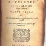 Page de garde des Secreti del reverendo donno Alessio Piemontese, Venise, 1575 (source : http://www.moraccini.it/)