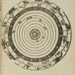 Système géocentrique du monde selon Pythagore et Ptolémée (Illustration de Elemanta doctrinae de circulis coelestibus, et primo motu] ; Caspar Peucer, 1551) (source : Europeana)