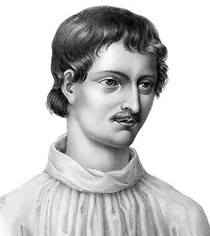 "Portrait de Giordano Bruno, in ""Le Livre du recteur"" 1578, Genève (source : wikimedia commons)"