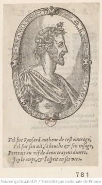 Portrait de Ronsard, de profil dans une bordure ovale, estampe (source : Gallica)