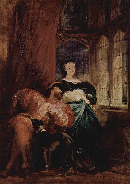 """Richard Parkes Bonington, """"François Ier et Marguerite de Navarre"""", 1827 (source : wiki)"""