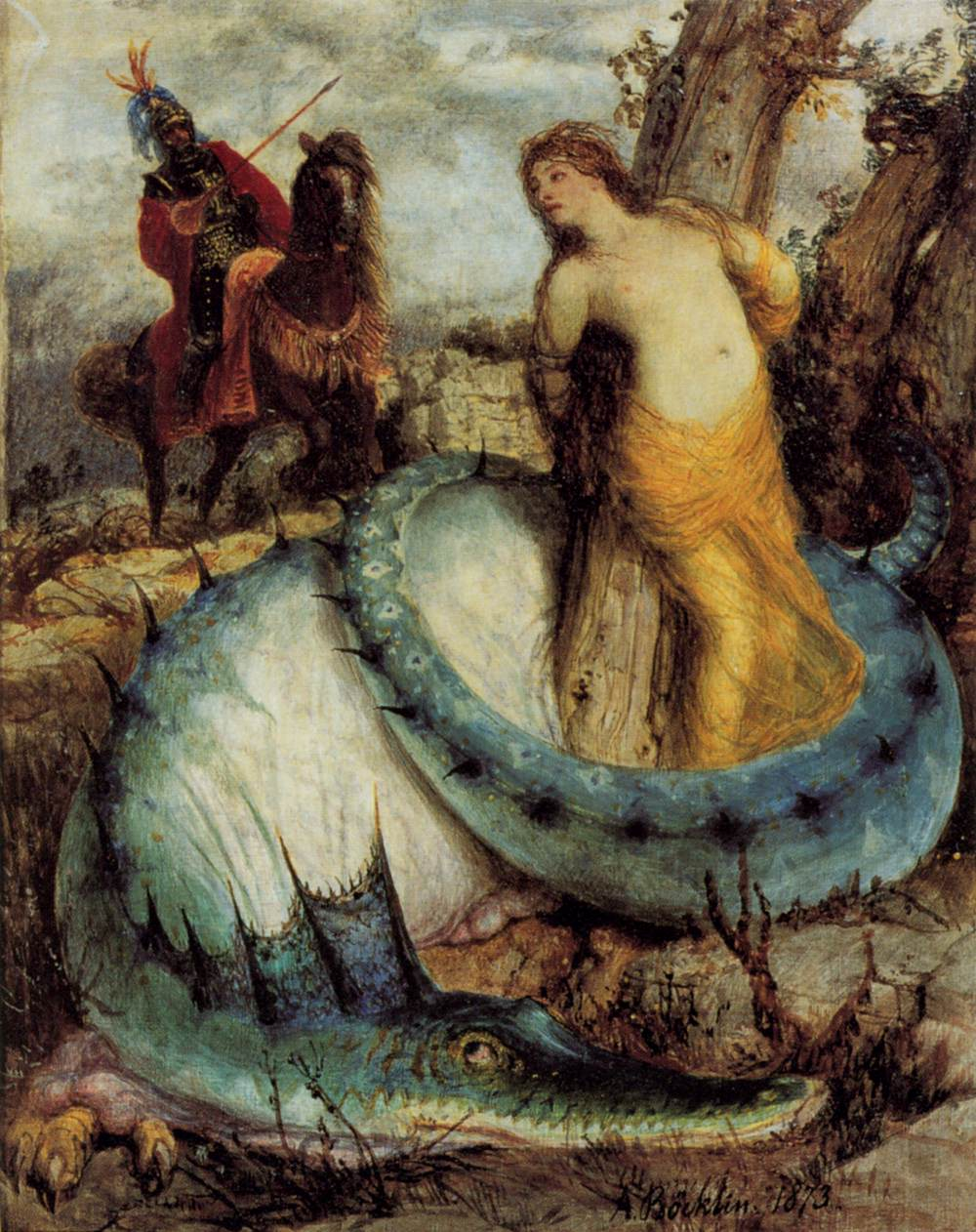 "Arnold BÖCKLIN, ""Roger et Angélique"", (1871-1874), Berlin, Nationalgalerie (source : WGA)."